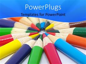 PowerPlugs: PowerPoint template with a number of color pencils in a circle