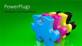 PowerPlugs: PowerPoint template with a numbe rof puzzle pieces with greenish background