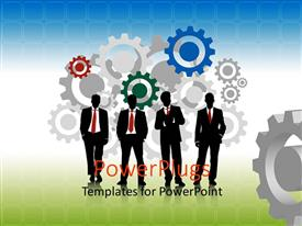 PowerPlugs: PowerPoint template with colored 2D gears with business men on green surface