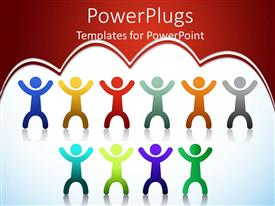 PowerPlugs: PowerPoint template with colored 2D people with reflection on white surface