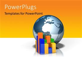PowerPlugs: PowerPoint template with colored 3D chart with earth globe on yellow and white surface