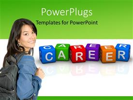 PowerPlugs: PowerPoint template with colored 3D cubes forming word CAREER with young lady carrying backpack