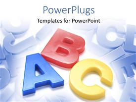 PowerPlugs: PowerPoint template with colored 3D letters on blue themed background