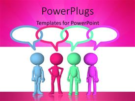 PowerPlugs: PowerPoint template with colored 3D men with overlapping speech bubbles on pink and white background