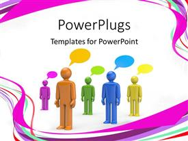 PowerPoint template displaying colored 3D men with speech bubbles standing on white background