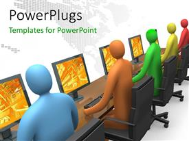PowerPlugs: PowerPoint template with colored 3D people operating laptops with digital dots forming world map