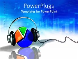 PowerPoint template displaying colored 3D pie chart with headphones on blue and white surface