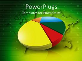 PowerPoint template displaying colored 3D success pie chart over green world map in background