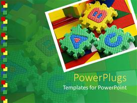 PowerPlugs: PowerPoint template with colored ABC blocks on colorful surface in green background
