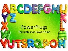 PowerPlugs: PowerPoint template with colored alphabets as frame on green background
