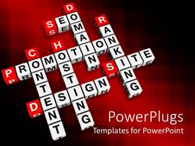 PowerPlugs: PowerPoint template with colored background with crossword of website terms