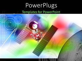 PowerPlugs: PowerPoint template with colored background with digital depiction and satellite in space
