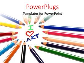 PowerPlugs: PowerPoint template with colored crayons arranged in circle over white drawing pad