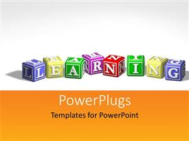 PowerPoint template displaying colored cubes form 3D word LEARNING on white background