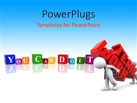 PowerPlugs: PowerPoint template with colored cubes form YOU CAN DO IT with teamwork depicted