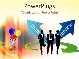 PowerPlugs: PowerPoint template with colored darts hitting bulls eye of target with successful business team