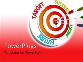 PowerPlugs: PowerPoint template with colored darts stuck in bulls eye of target over red background