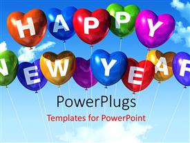 PowerPlugs: PowerPoint template with lots of heart shaped balloons with text that spell out the words 'happy new year'