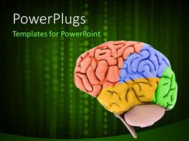 PowerPlugs: PowerPoint template with colored human brain model on a technology background