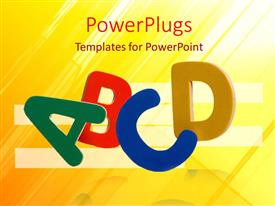 PowerPlugs: PowerPoint template with colored letters ABCD on abstract yellow and white surface