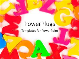 PowerPlugs: PowerPoint template with colored letters arranged in circles on white background