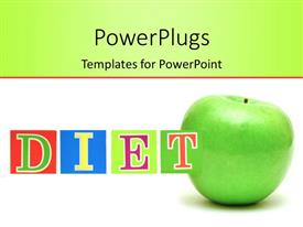 PowerPlugs: PowerPoint template with colored letters form word DIET with green apple on white background