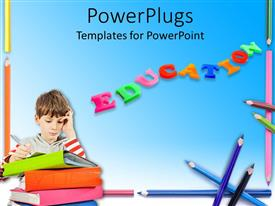 PowerPlugs: PowerPoint template with colored letters form word EDUCATION with kids writing over book pile