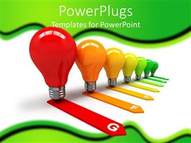 PowerPoint template displaying colored light bulbs with matching arrows, green background