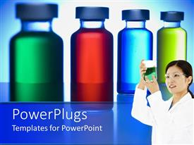 PowerPlugs: PowerPoint template with colored liquids in vials with female doctor examining liquid in beaker