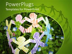 PowerPoint template displaying colored paper figures holding hands symbolizing unity, friendship, teamwork