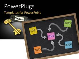 PowerPlugs: PowerPoint template with colored paper tags with success makeup over chalkboard and gold success key