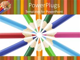 PowerPlugs: PowerPoint template with colored pencil tips in a circle, art, creativity