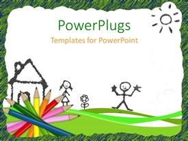 PowerPlugs: PowerPoint template with colored pencils and drawing depicting kids learning with white color