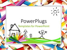 Powerpoint template colored crayons lined up for drawing on white powerplugs powerpoint template with colored pencils and drawings depicting kids learning with white color toneelgroepblik Images