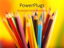 PowerPlugs: PowerPoint template with colored pencils in pencil jar over colorful background