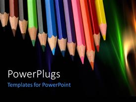 PowerPlugs: PowerPoint template with colored pencils in a row with nice abstract colorful shades