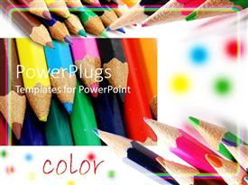 PowerPlugs: PowerPoint template with colored pencils shown at different angles with word color, art, creativity