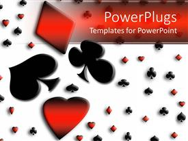 PowerPoint template displaying colored playing card symbols, spade, love and diamond