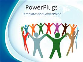 PowerPlugs: PowerPoint template with colored symbol of people holding hands in a circle with world map in background