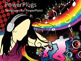 PowerPoint template displaying colorful 2D depiction of men doing dancing stunts with girl using headphone