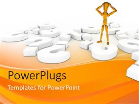 PowerPlugs: PowerPoint template with yellow 3D man holds head in hands with large question mark symbols