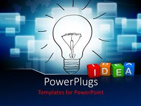 PowerPoint template displaying colorful 3D cubes forming word IDEA with glowing light bulb