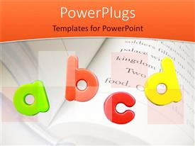PowerPlugs: PowerPoint template with colorful 3D letters ABCD  over open notebook