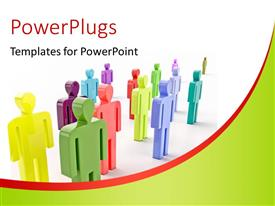 PowerPlugs: PowerPoint template with colorful 3D people line in formation over white background