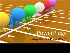 PowerPlugs: PowerPoint template with a number of 3D colorful figures on the start of the race