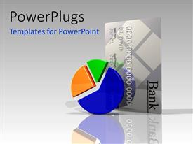 PowerPlugs: PowerPoint template with colorful 3D pie chart and bank credit card over reflective background