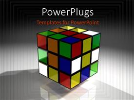 PowerPlugs: PowerPoint template with a colorful 3D rubix cube on an ash colored background