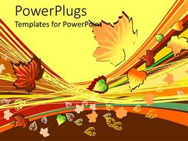 PowerPlugs: PowerPoint template with colorful abstract autumn leaves on a yellow and brown background