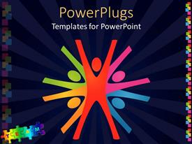 PowerPoint template displaying colorful abstract depiction of teamwork in dark blue background