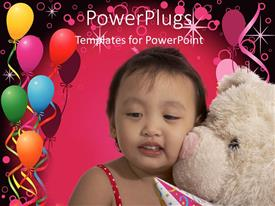PowerPlugs: PowerPoint template with colorful background with balloons and baby with teddy bear